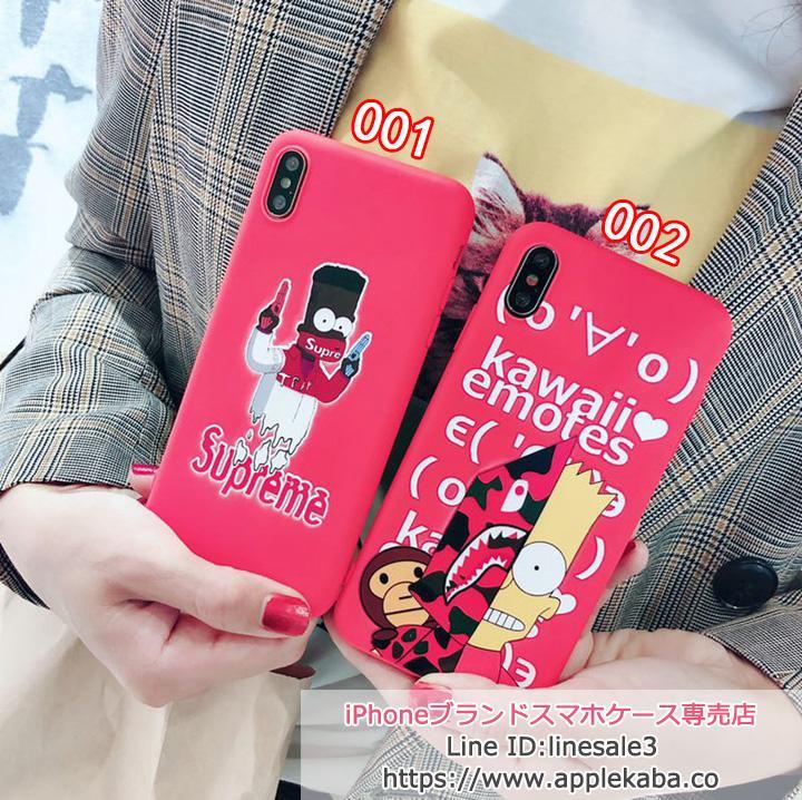 supreme iphonexs max ケース 可愛い シンプソン ピンク少女感